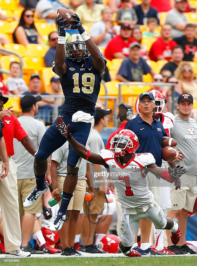 Dontez Fords #19 of the Pittsburgh Panthers goes up for a catch but can't come up with it before a pass interference call is made on Kenneth Durden #7 of the Youngstown State Penguins in the fourth quarter during the game at Heinz Field on September 5, 2015 in Pittsburgh, Pennsylvania.