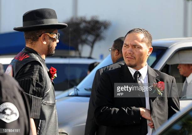 Donto James attends his mother Etta James funeral in Gardena California on January 28 2012 AFP PHOTO/VALERIE MACON