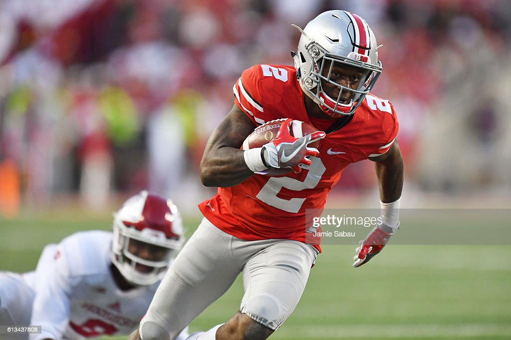 Dontre Wilson #2 of the Ohio State Buckeyes scores on a 37-yard touchdown reception against the Indiana Hoosiers in the fourth quarter at Ohio Stadium on October 8, 2016 in Columbus, Ohio. Ohio State defeated Indiana 38-17.