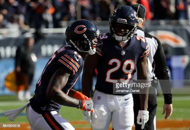 Dontrelle Inman and Tarik Cohen of the Chicago Bears celebrate after Inman scored a touchdown in the first quarter against the San Francisco 49ers at...