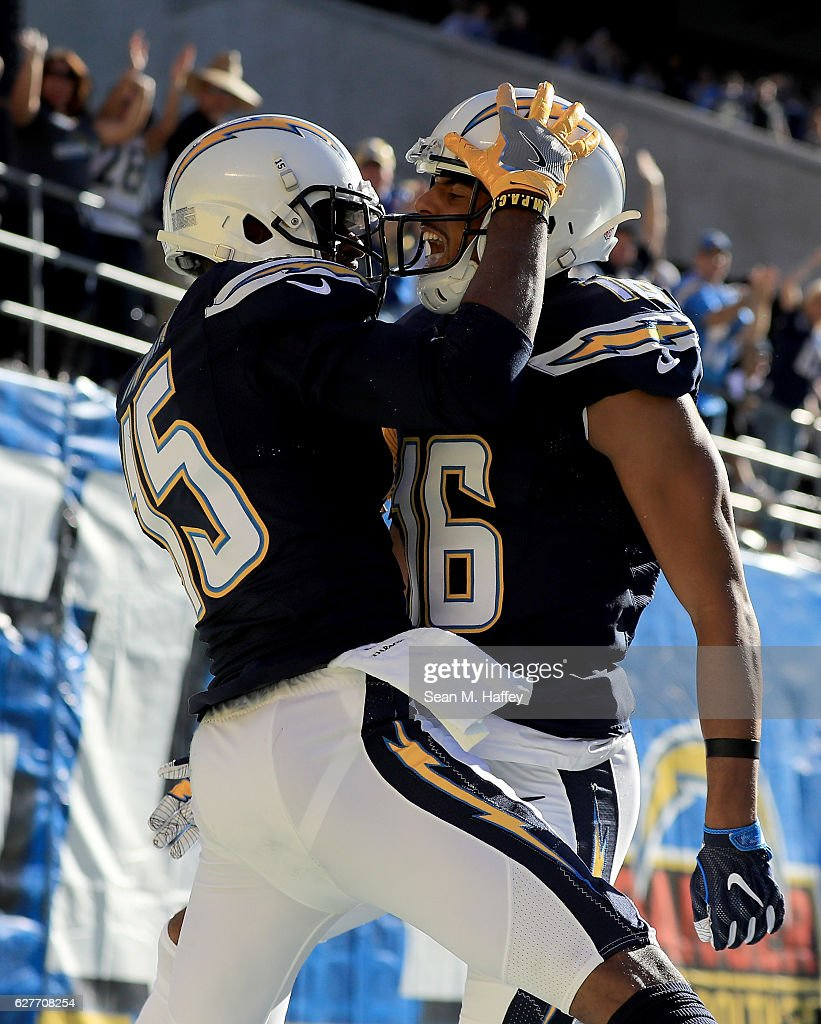 Dontrelle Inman #15 and Tyrell Williams #16 of the San Diego Chargers react after Inman's touchdown against the Tampa Bay Buccaneers in the first half at Qualcomm Stadium on December 4, 2016 in San Diego, California.