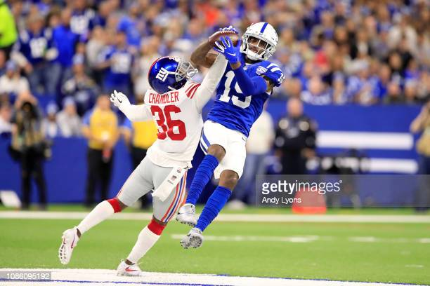 Dontrelle Inman of the Indianapolis Colts catches a pass in the game against the New York Giants in the fourth quarter at Lucas Oil Stadium on...