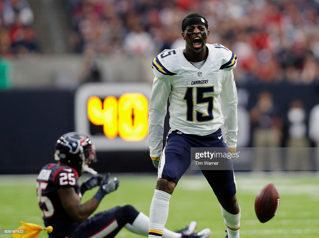 Dontrelle Inman #15 of the San Diego Chargers reacts after an unnessessary roughness penalty by Kareem Jackson #25 of the Houston Texans in the fourth quarter at NRG Stadium on November 27, 2016 in Houston, Texas.