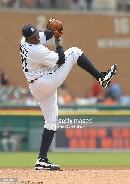 Dontrelle Willis of the Detroit Tigers pitches against the Minnesota Twins during the game at Comerica Park on April 29 2010 in Detroit Michigan The...