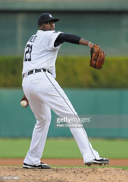Dontrelle Willis of the Detroit Tigers pitches against the Oakland Athletics during the game at Comerica Park on May 28 2010 in Detroit Michigan The...