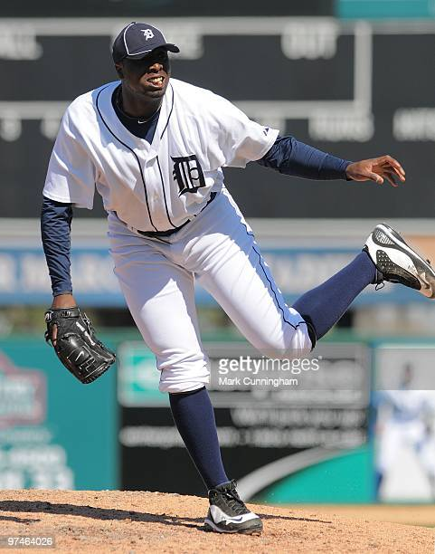 Dontrelle Willis of the Detroit Tigers pitches against the Toronto Blue Jays during a spring training game at Joker Marchant Stadium on March 4 2010...