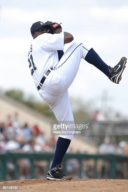 Dontrelle Willis of the Detroit Tigers pitches during the game against the Cleveland Indians at Joker Marchant Stadium in Lakeland Florida on March 1...
