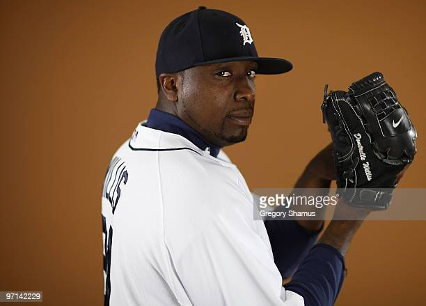 Dontrelle Willis of the Detroit Tigers poses during photo day at the Detroit Tigers Spring Training facility on February 27 2010 in Lakeland Florida