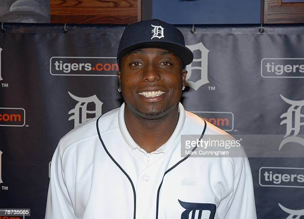 Dontrelle Willis of the Detroit Tigers poses for a photo in his new uniform during a press conference announcing his signing of a three year contract...