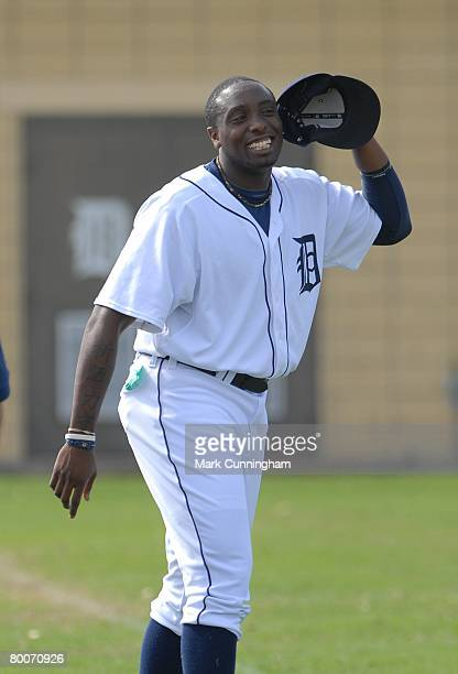 Dontrelle Willis of the Detroit Tigers smiles during spring training workouts at Joker Marchant Stadium in Lakeland Florida on February 20 2008