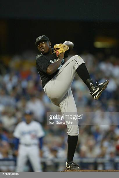 Dontrelle Willis of the Florida Marlins pitches against the Los Angeles Dodgers at Dodger Stadium in Los Angeles CA