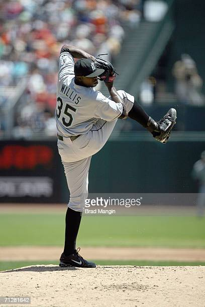 Dontrelle Willis of the Florida Marlins pitches during the game against the San Francisco Giants at ATT Park in San Francisco California on June 7...