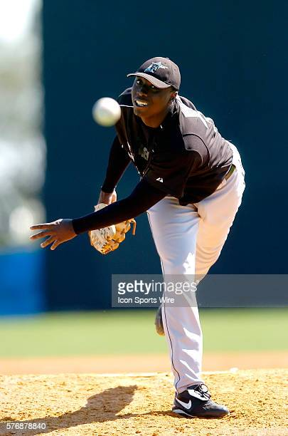 Dontrelle Willis of the Florida Marlins plays against the Washington Nationals during in a Grapefruit League Spring Training game at Space Coast...