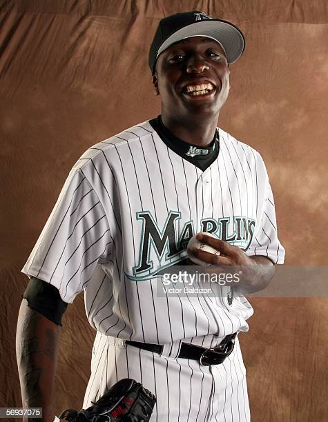 Dontrelle Willis of the Florida Marlins poses during Florida Marlins Photo Day on February 25 2006 at Roger Dean Stadium in Jupiter Florida