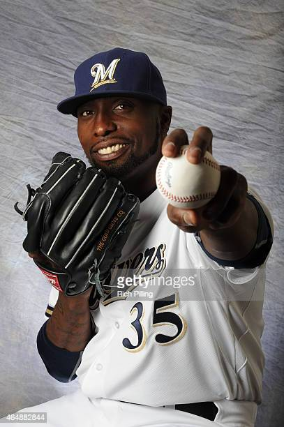 Dontrelle Willis of the Milwaukee Brewers poses for a portrait during Photo Day on February 27 2015 at Maryville Baseball Park in Maryvale Arizona
