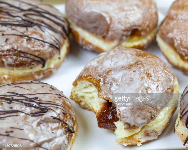 donuts. sweet dessert - deep fried stock pictures, royalty-free photos & images