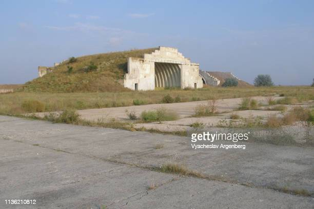 donuzlav military aircraft hangars, crimea - argenberg stock pictures, royalty-free photos & images