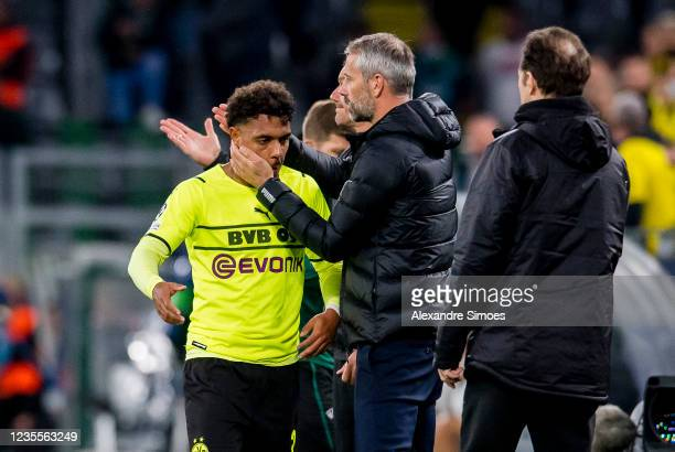 Donyell Malen and head coach Marco Rose of Borussia Dortmund in action during the Champions League Group C match between Borussia Dortmund and...