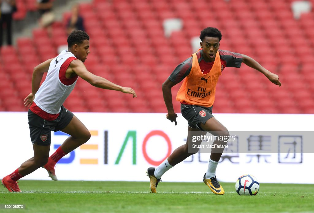Donyell Malen and Joe Willock of Arsenal during a training session at the Birds Nest stadium on July 21, 2017 in Beijing, China.