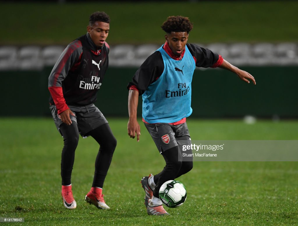 Donyell Malen and Reiss Nelson of Arsenal during a training session at the Koraragh Oval on July 12, 2017 in Sydney, New South Wales.
