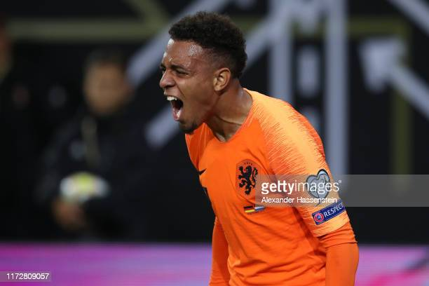 Donyell Malen celebrates after scoring his team's third goal during the UEFA Euro 2020 qualifier match between Germany and Netherlands at...