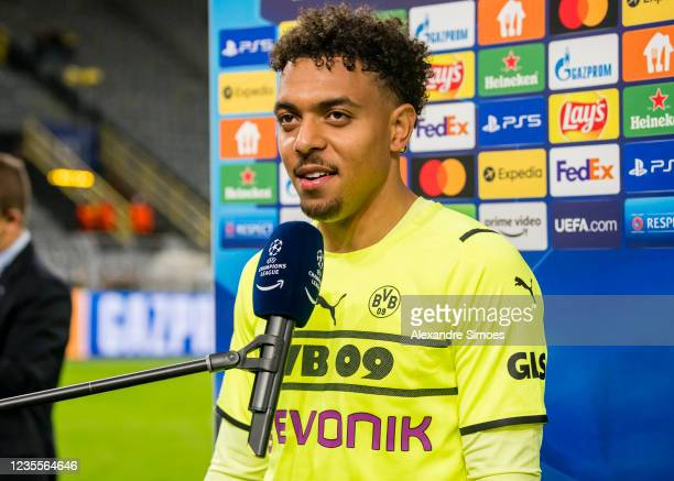 Donyell Malen of Borussia Dortmund is giving an interview after the final whistle during the Champions League Group C match between Borussia Dortmund...