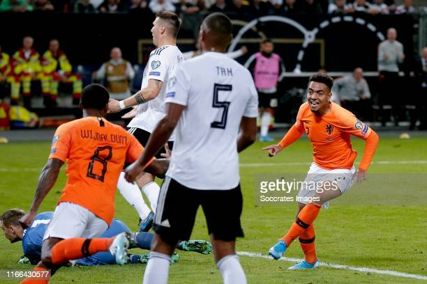 Donyell Malen of Holland celebrates 23 during the EURO Qualifier match between Germany v Holland at the Volkspark Stadium on September 6 2019 in...