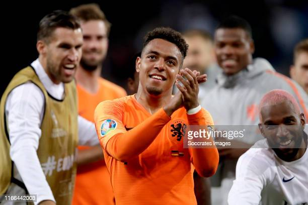 Donyell Malen of Holland celebrates the victory during the EURO Qualifier match between Germany v Holland at the Volkspark Stadium on September 6...