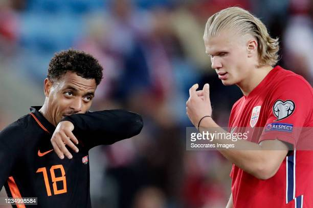 Donyell Malen of Holland, Erling Braut Haaland of Norway during the World Cup Qualifier match between Norway v Holland at the Ullevaal Stadium on...