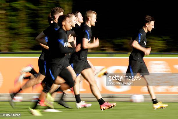 Donyell Malen of Holland, Teun Koopmeiners of Holland, Matthijs de Ligt of Holland, Steven Berghuis of Holland during the Training MenTraining...