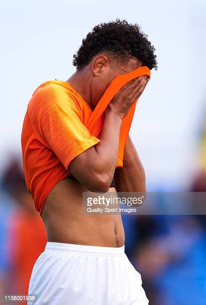 Donyell Malen of Netherlands reacts during the U23 International friendly match between Netherlands and the United States on March 24 2019 in San...