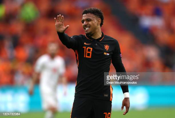 Donyell Malen of Netherlands reacts during the UEFA Euro 2020 Championship Group C match between North Macedonia and The Netherlands at Johan Cruijff...