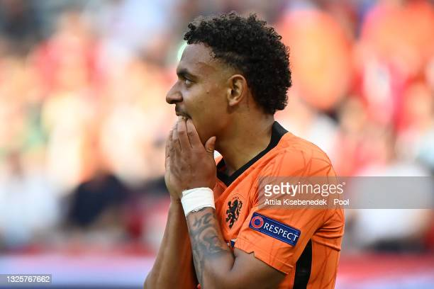 Donyell Malen of Netherlands reacts during the UEFA Euro 2020 Championship Round of 16 match between Netherlands and Czech Republic at Puskas Arena...