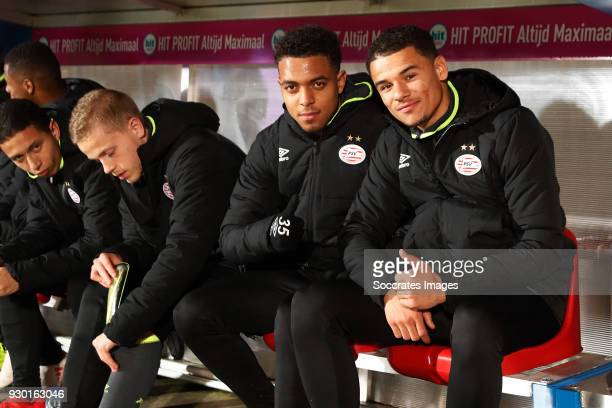 Donyell Malen of PSV Armando Obispo of PSV during the Dutch Eredivisie match between Willem II v PSV at the Koning Willem II Stadium on March 10 2018...