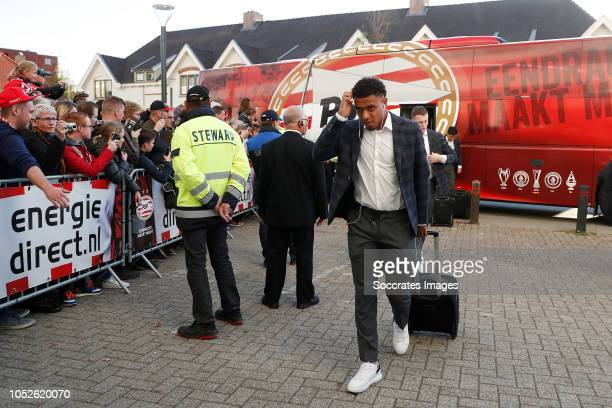 Donyell Malen of PSV arrives with the players bus during the Dutch Eredivisie match between PSV v FC Emmen at the Philips Stadium on October 20 2018...