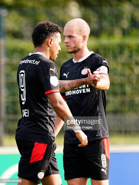 Donyell Malen of PSV celebrates 0-1 with Jorrit Hendrix of PSV during the Club Friendly match between Hertha BSC v PSV at the Olympiapark Hanns Braun...