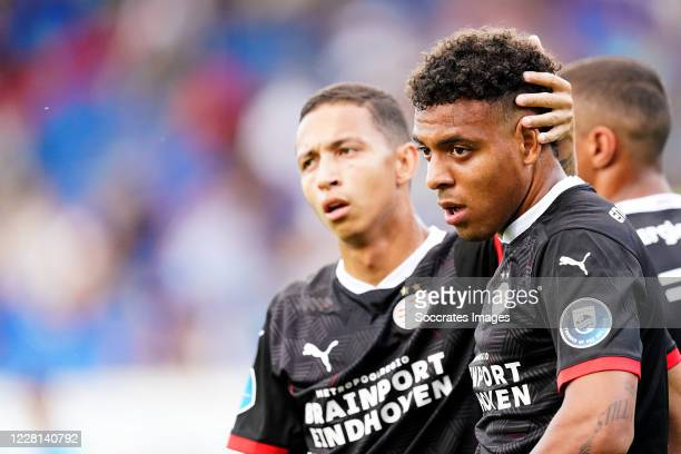 Donyell Malen of PSV celebrates 0-1 with Mauro Junior of PSV during the Club Friendly match between Willem II v PSV at the Koning Willem II Stadium...