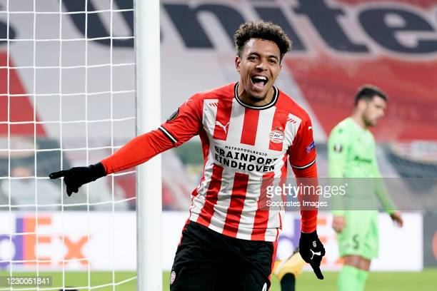 Donyell Malen of PSV celebrates 1-0 during the UEFA Europa League match between PSV v Omonia at the Philips Stadium on December 10, 2020 in Eindhoven...