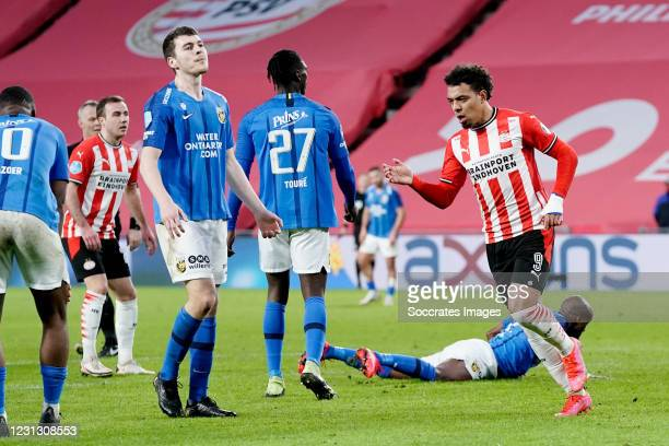 Donyell Malen of PSV Celebrates 1-1 during the Dutch Eredivisie match between PSV v Vitesse at the Philips Stadium on February 21, 2021 in Eindhoven...