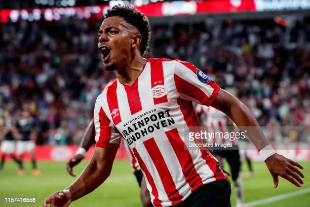 Donyell Malen of PSV celebrates 3-2 during the UEFA Champions League match between PSV v Fc Basel at the Philips Stadium on July 23, 2019 in...