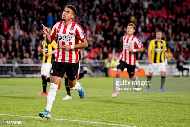 Donyell Malen of PSV celebrates 4-0 during the Dutch Eredivisie match between PSV v Vitesse at the Philips Stadium on September 14, 2019 in Eindhoven...