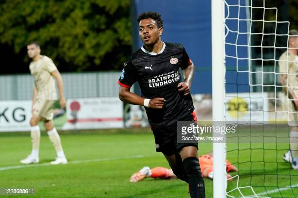 Donyell Malen of PSV Celebrates the first goal 0-1 during the UEFA Europa League match between Mura v PSV at the Recreation Park Fazanerija on...