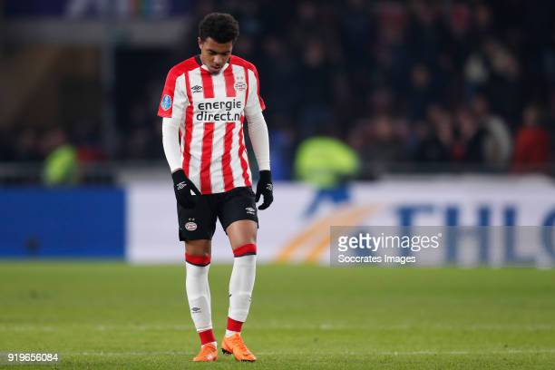 Donyell Malen of PSV during the Dutch Eredivisie match between PSV v SC Heerenveen at the Philips Stadium on February 17 2018 in Eindhoven Netherlands