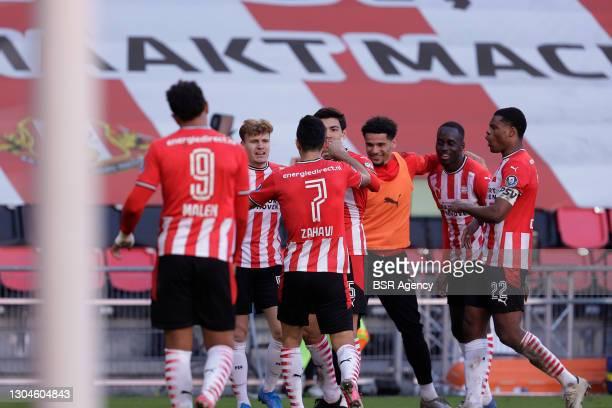 Donyell Malen of PSV Eindhoven, Yorbe Vertessen of PSV Eindhoven, Eran Zahavi of PSV Eindhoven, Erick Gutierrez of PSV Eindhoven, Jordan Teze of PSV...
