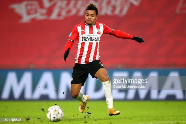 Donyell Malen of PSV in action during the Dutch Eredivisie match between PSV Eindhoven and FC Twente at Philips Stadion on February 06, 2021 in...