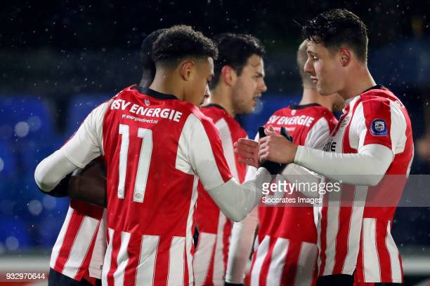 Donyell Malen of PSV U23 celebrates 10 during the Dutch Jupiler League match between PSV U23 v FC Volendam at the De Herdgang on March 16 2018 in...