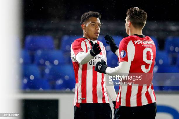 Donyell Malen of PSV U23 celebrates 10 with Matthias Verreth of PSV U23 during the Dutch Jupiler League match between PSV U23 v FC Volendam at the De...