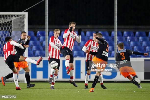 Donyell Malen of PSV U23 Dani van der Moot of PSV U23 Matthias Verreth of PSV U23 Gijs Smal of FC Volendam during the Dutch Jupiler League match...