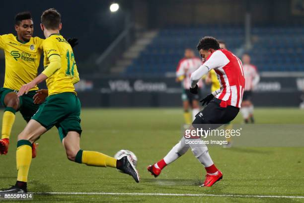 Donyell Malen of PSV U23 scores goal during the Dutch Jupiler League match between PSV U23 v Fortuna Sittard at the De Herdgang on December 4 2017 in...