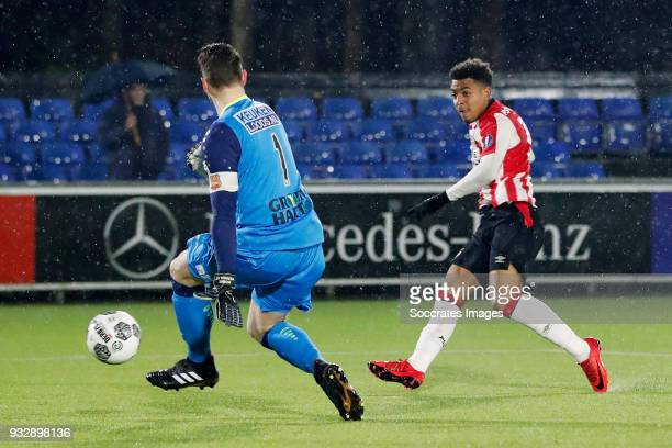 Donyell Malen of PSV U23 scores the first goal to make it 10 during the Dutch Jupiler League match between PSV U23 v FC Volendam at the De Herdgang...